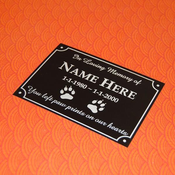 Black Pet Memorial Outdoor Plaque With Holes